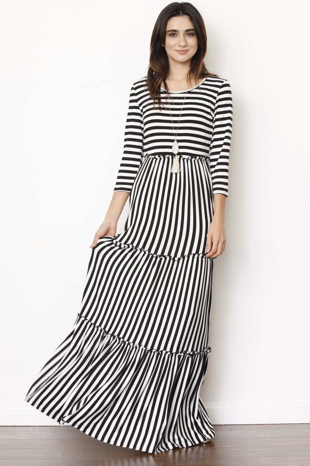 3/4 Sleeve Black Stripe Tiered Ruffle Maxi Dress_Plus