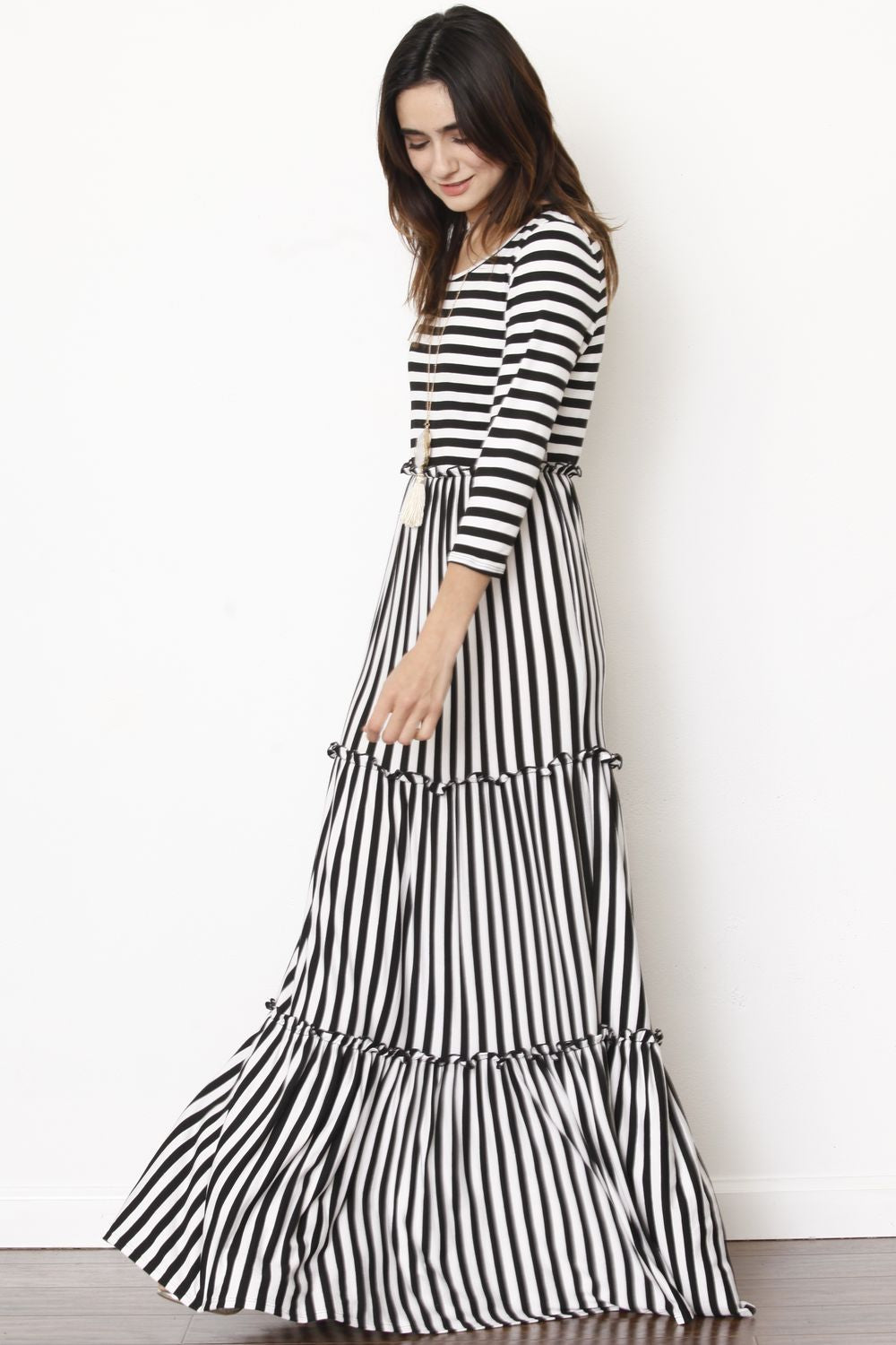 3/4 Sleeve Black Stripe Tiered Ruffle Maxi Dress