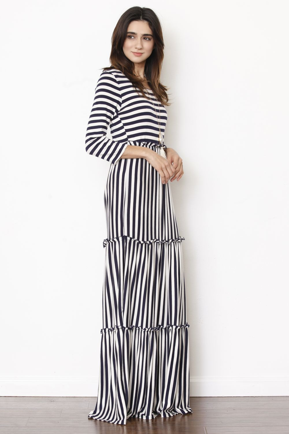 3/4 Sleeve Navy Stripe Tiered Ruffle Maxi Dress_Plus