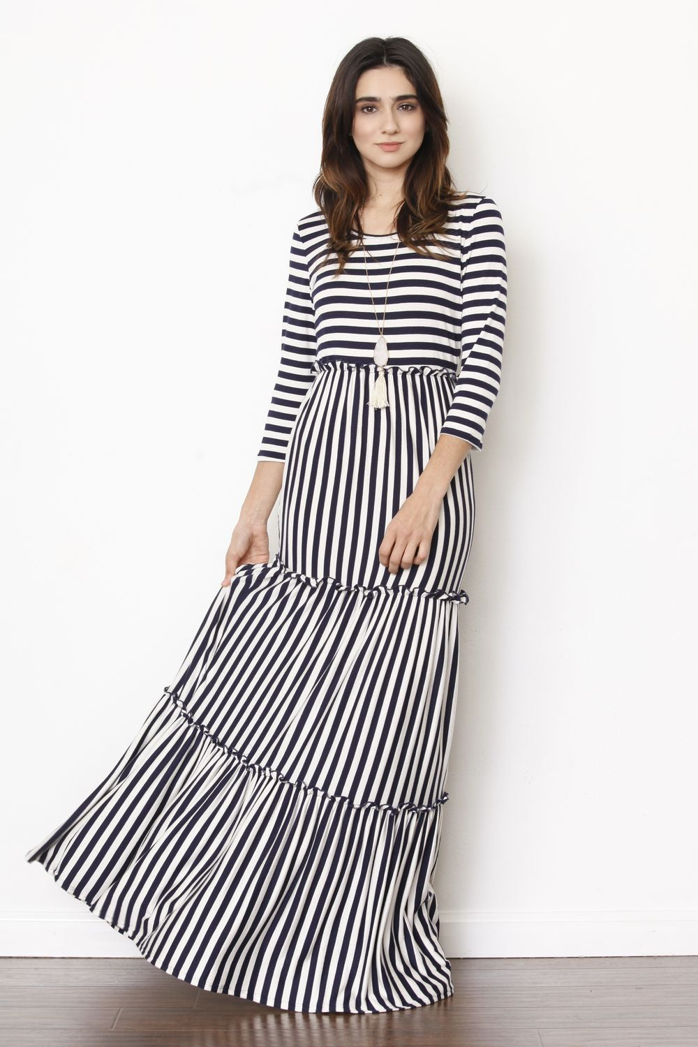 3/4 Sleeve Navy Stripe Tiered Ruffle Maxi Dress