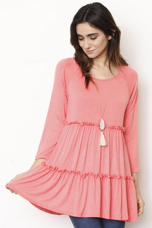 Pink Ruffle Tiered Tunic Top