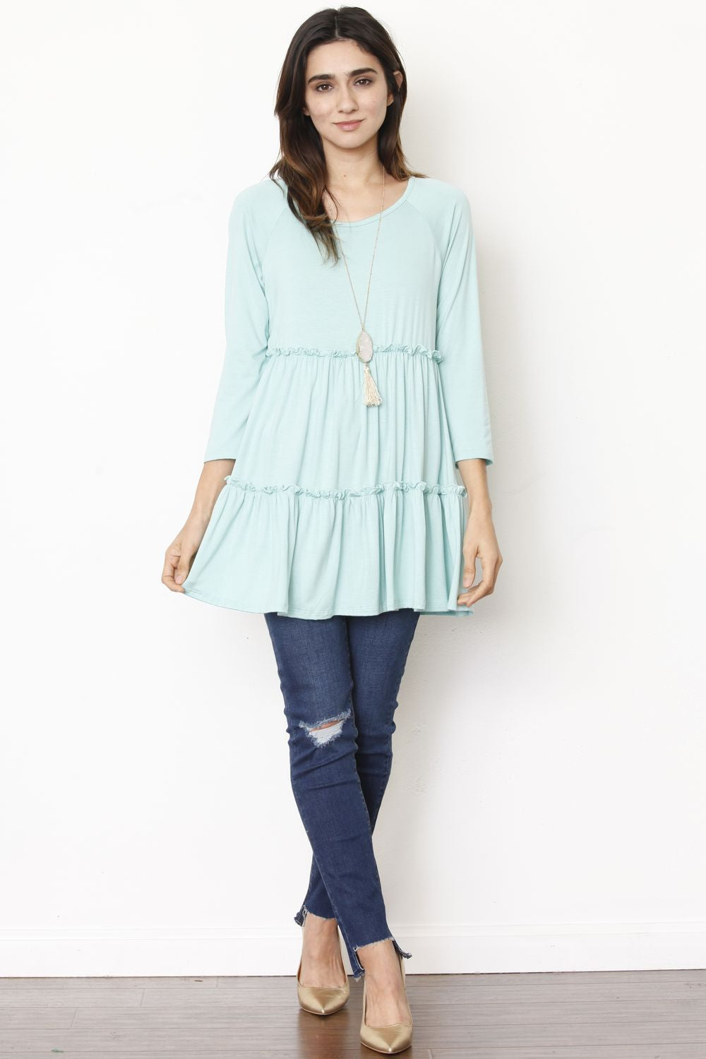 Mint Ruffle Tiered Tunic Top
