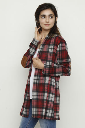 Heather Red Plaid Elbow Patch Cardigan With Pockets