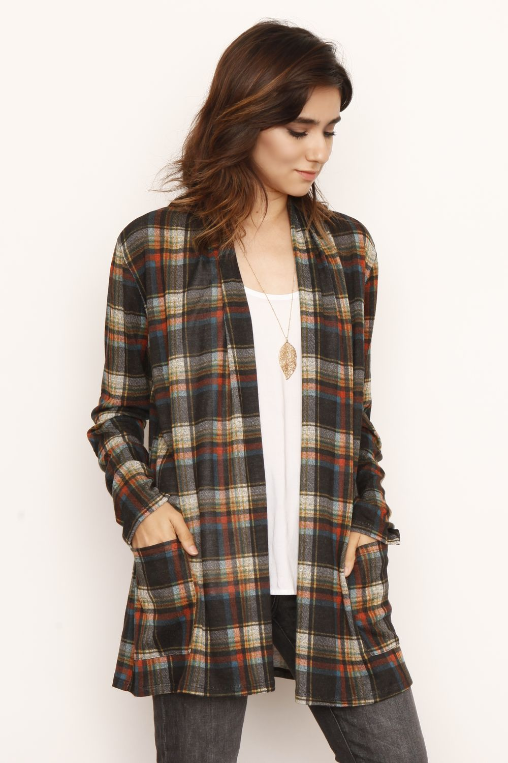 Black & Multi Color Plaid Elbow Patch Cardigan With Pockets