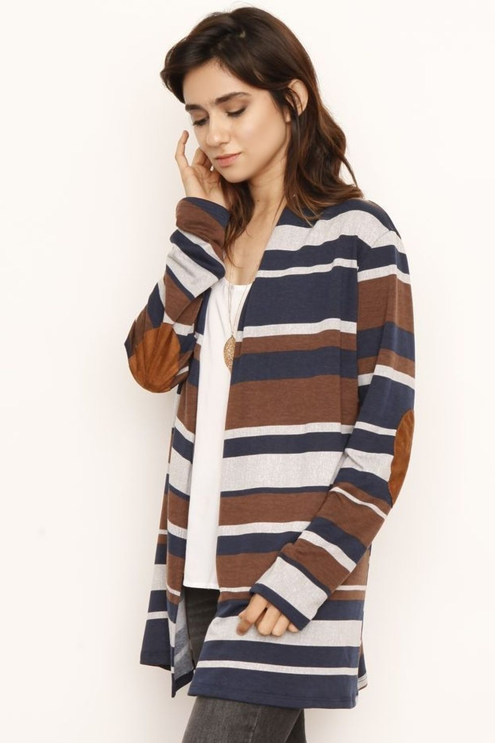 Navy & Brown Stripe Elbow Patch Cardigan With Pockets