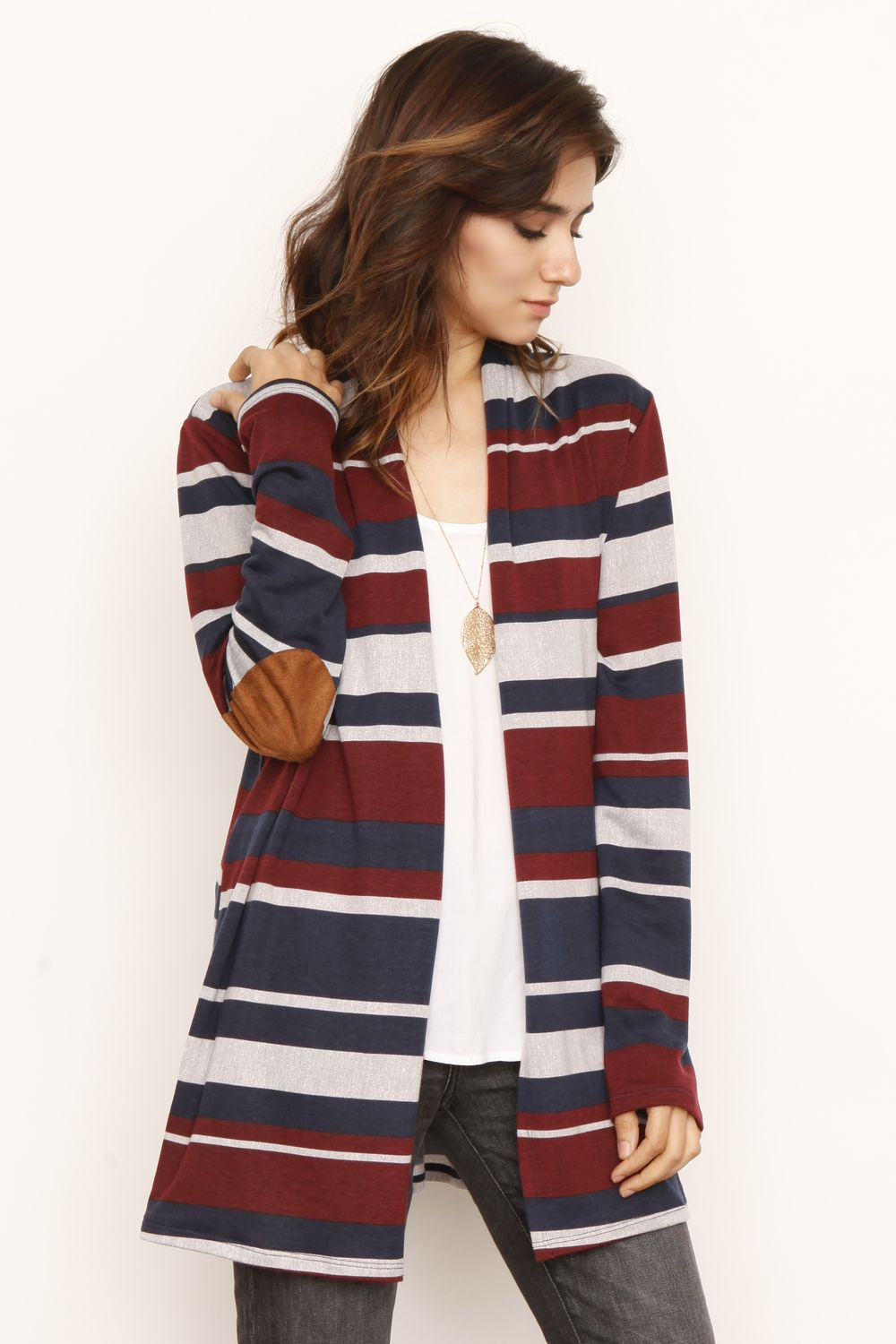 Navy & Burgundy Stripe Elbow Patch Cardigan With Pockets