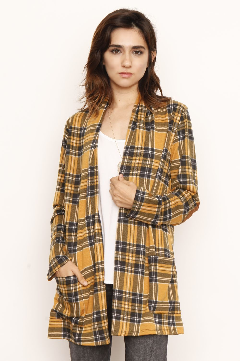 Mustard Plaid Elbow Patch Cardigan With Pockets_M