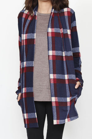 Navy & Red Plaid Elbow Patch Cardigan With Pockets
