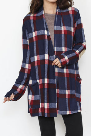 Navy & Red Plaid Elbow Patch Cardigan With Pockets_3XL