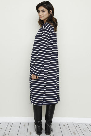 Navy Stripe Long Open Cardigan