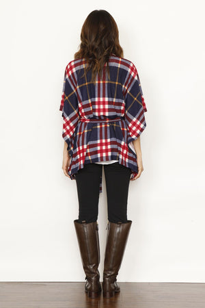 Navy & Red Plaid Robe Style Cardigan