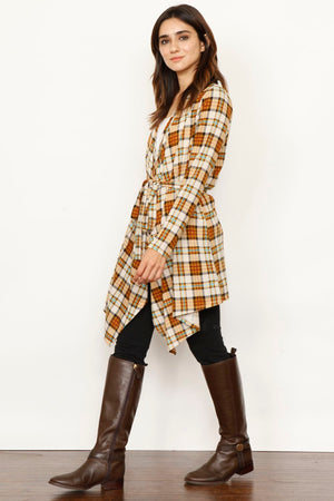 Mustard Plaid Robe Style Cardigan