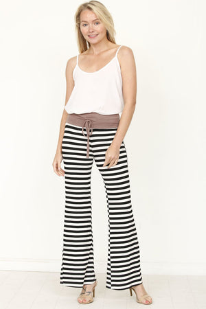 Mocha Band Black Stripe Drawstring Lounge Pants