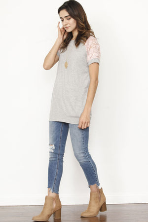 Pink Lace Raglan Short Sleeve Tunic