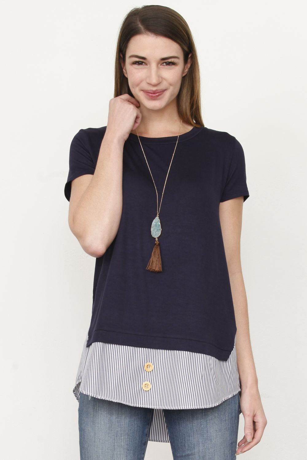 Navy Stripe Layered Top