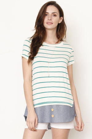 Green Stripe Chambray Layered Top