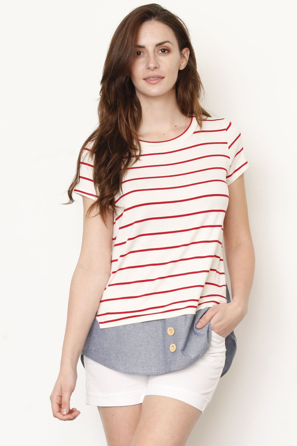 Red Stripe Chambray Layered Top