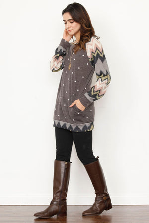 Charcoal Polka Dot Chevron Sleeve Tunic