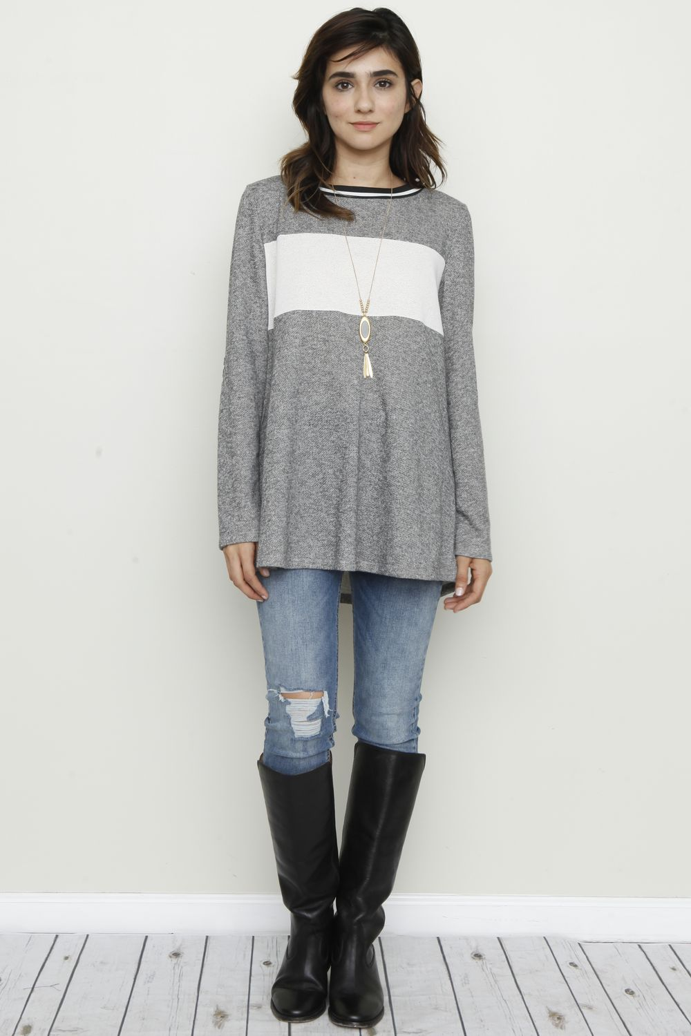 Front Solid Panel Elbow Patch Tunic