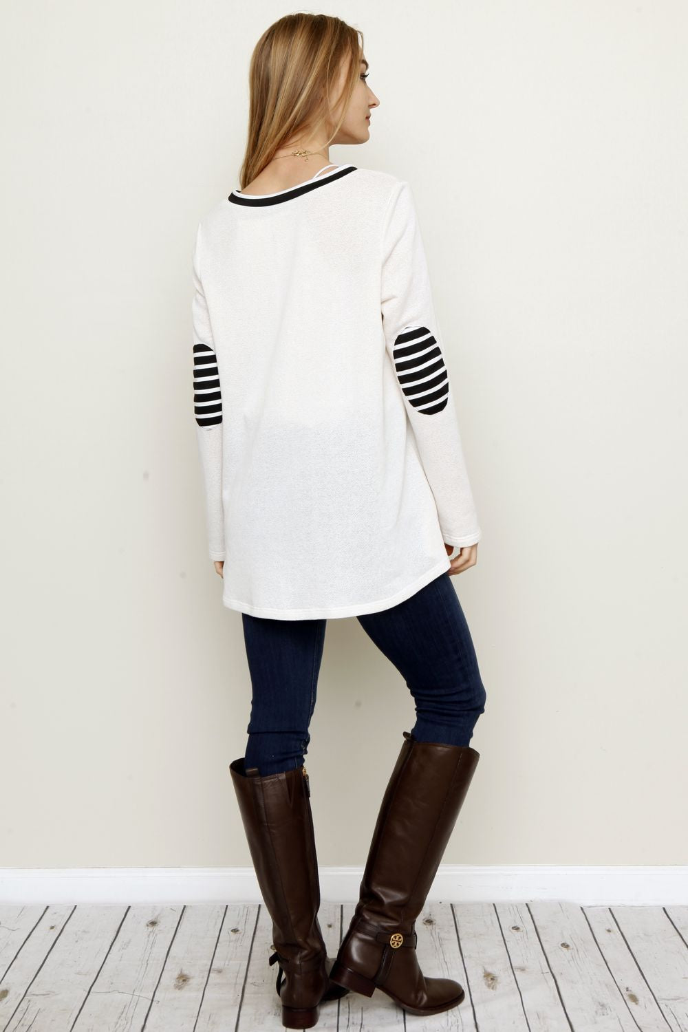 Ivory Grey Front Solid Panel Elbow Patch Tunic