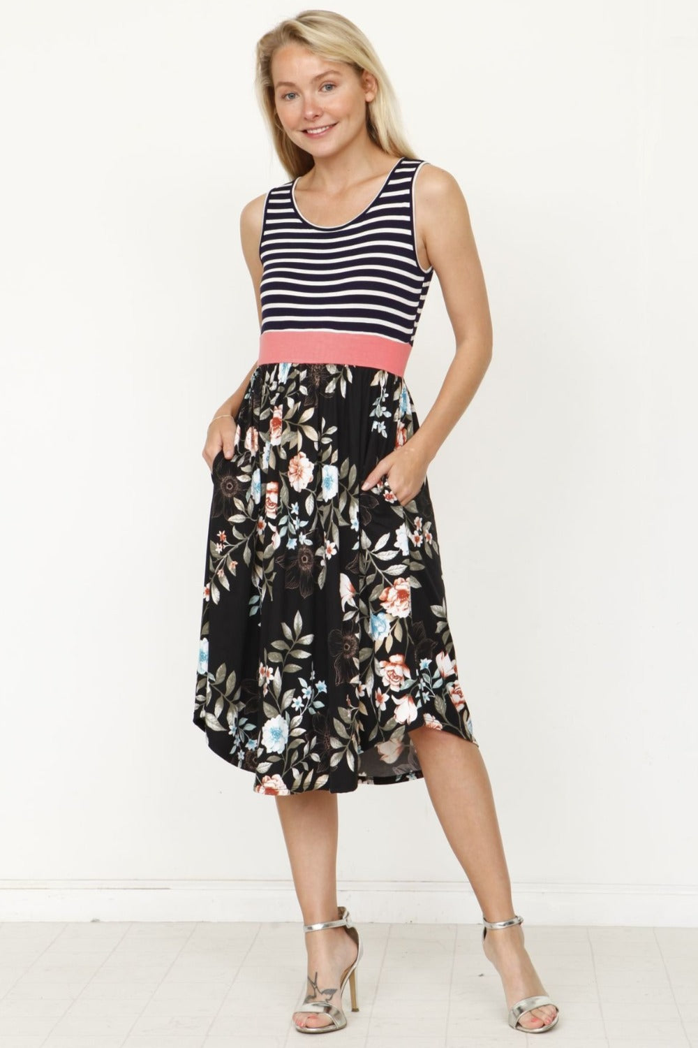 Navy Stripe Coral Band Black Floral Midi Dress