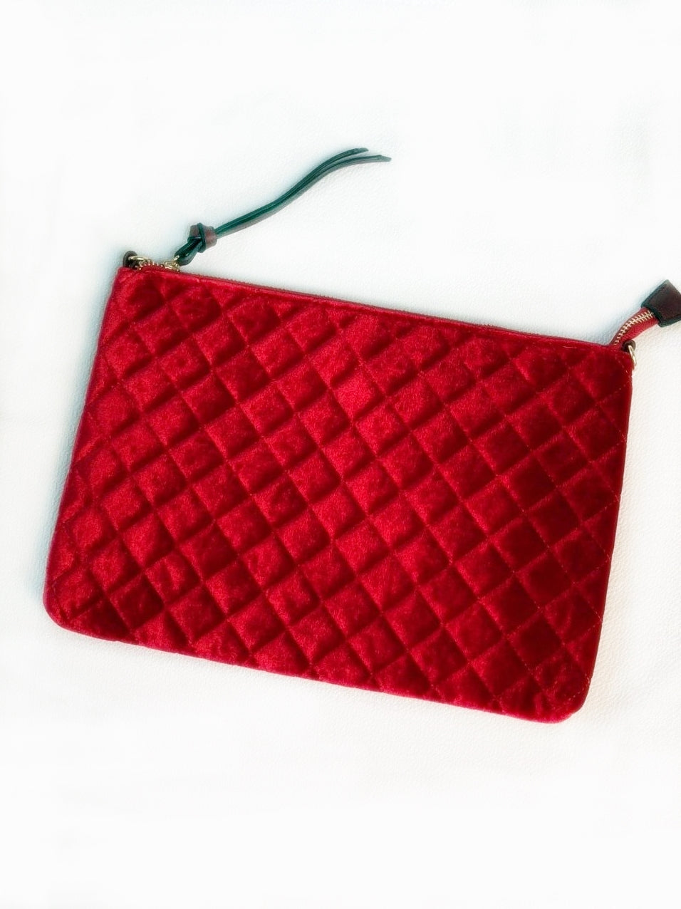 Red Quilted Velvet Clutch