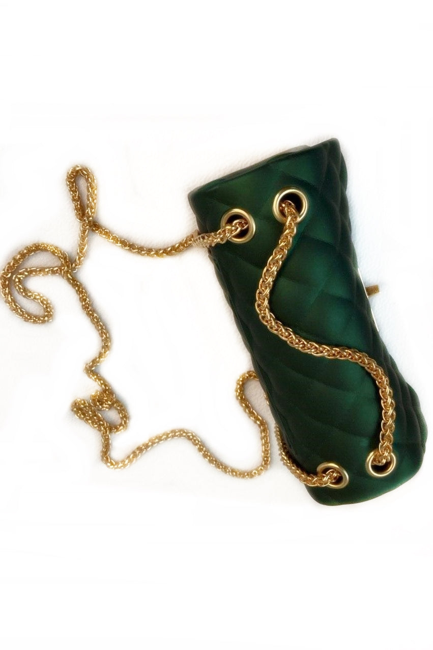 Midnight Green Quilted Mini Shoulder Bag