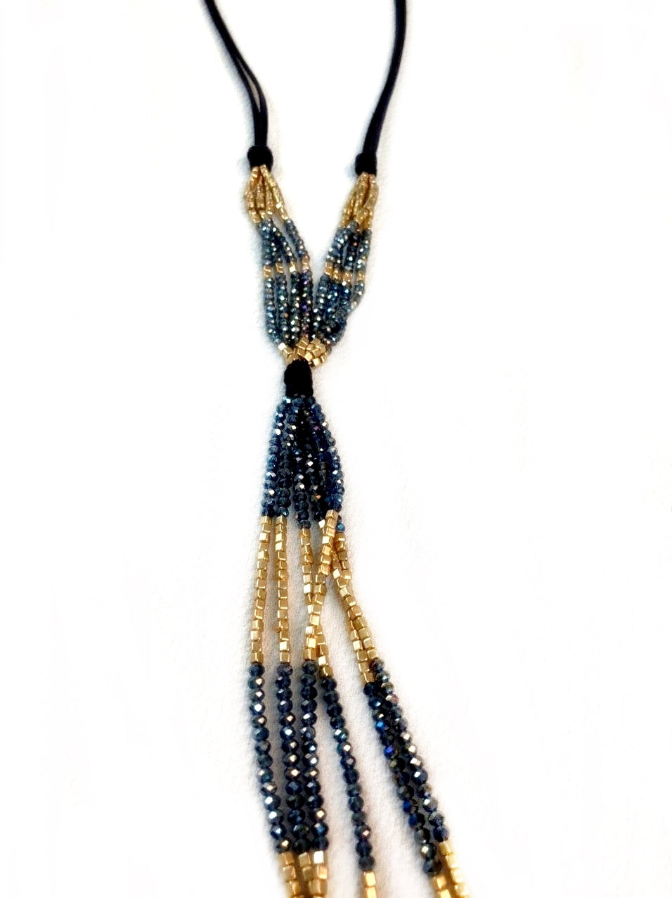 Two Tone Beads Tassel Necklace