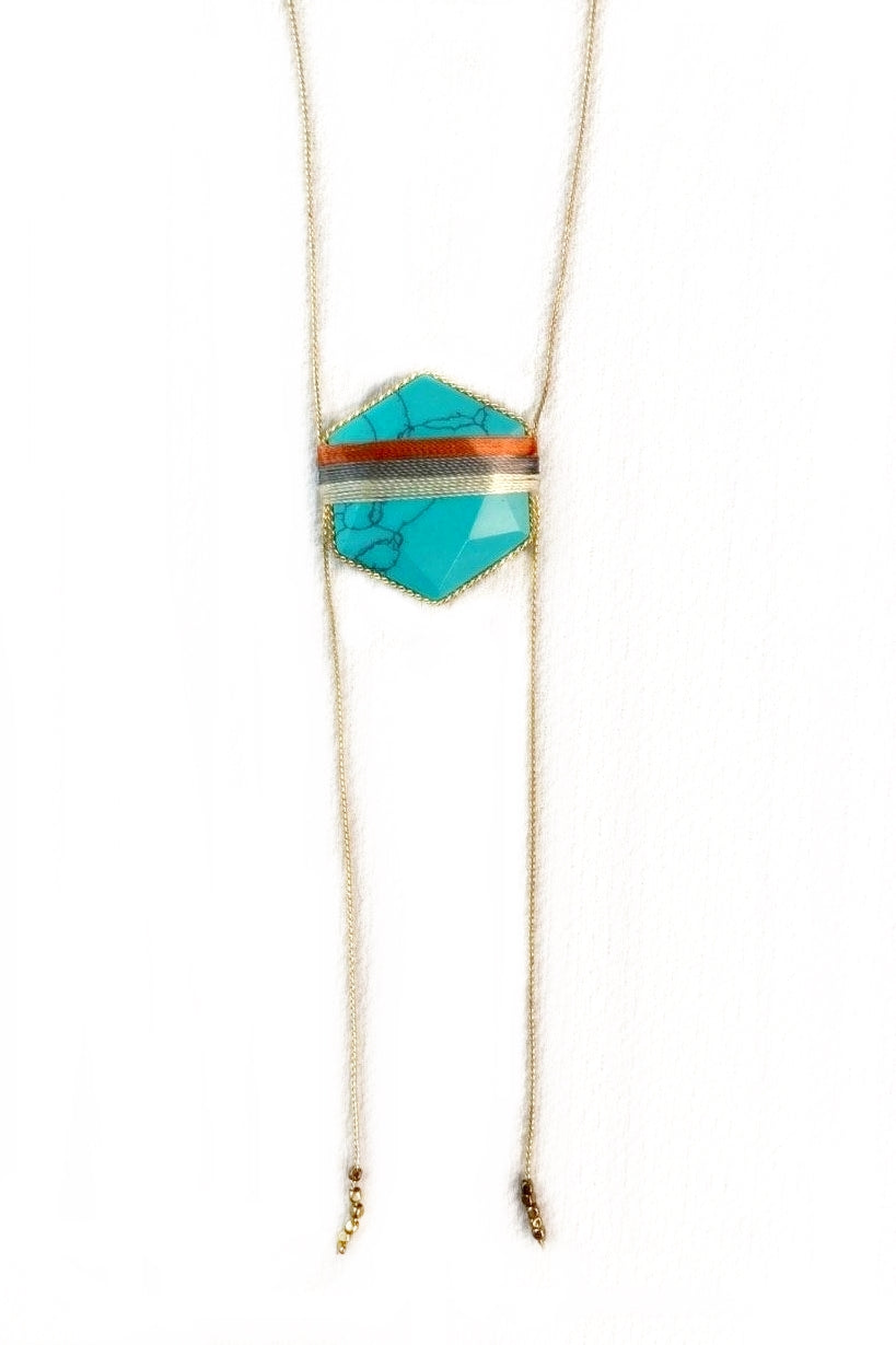 Turquoise Hexagon Necklace