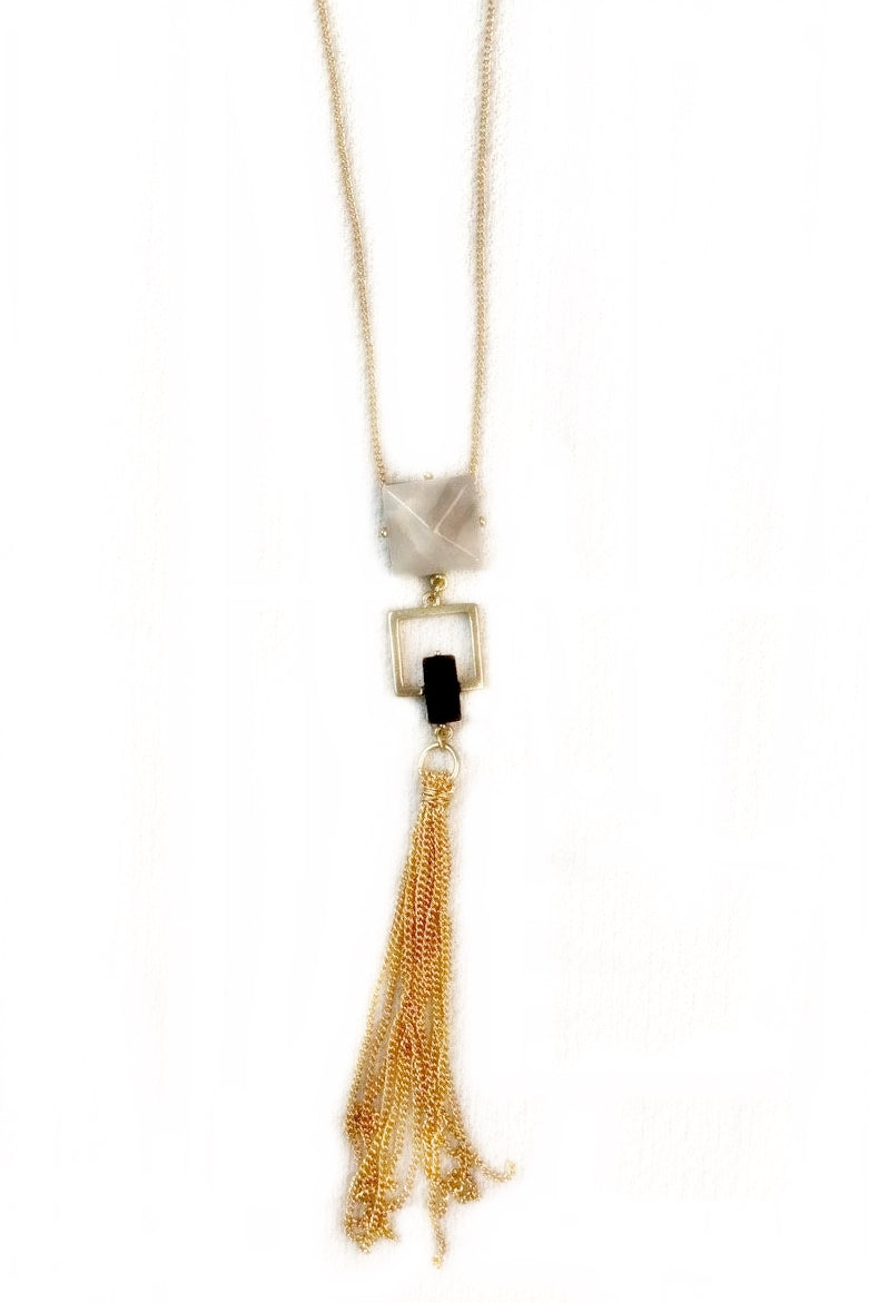 Double Square with Tassel Necklace