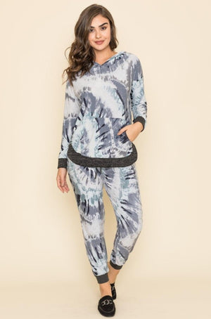 Charcoal Grey Swirl Tie Dye Kangaroo Pocket Hoodie & Jogger Set