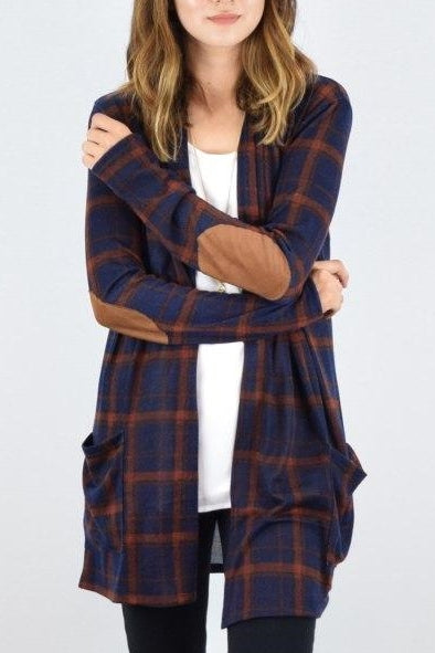 Navy & Camel Plaid Elbow Patch Cardigan With Pockets