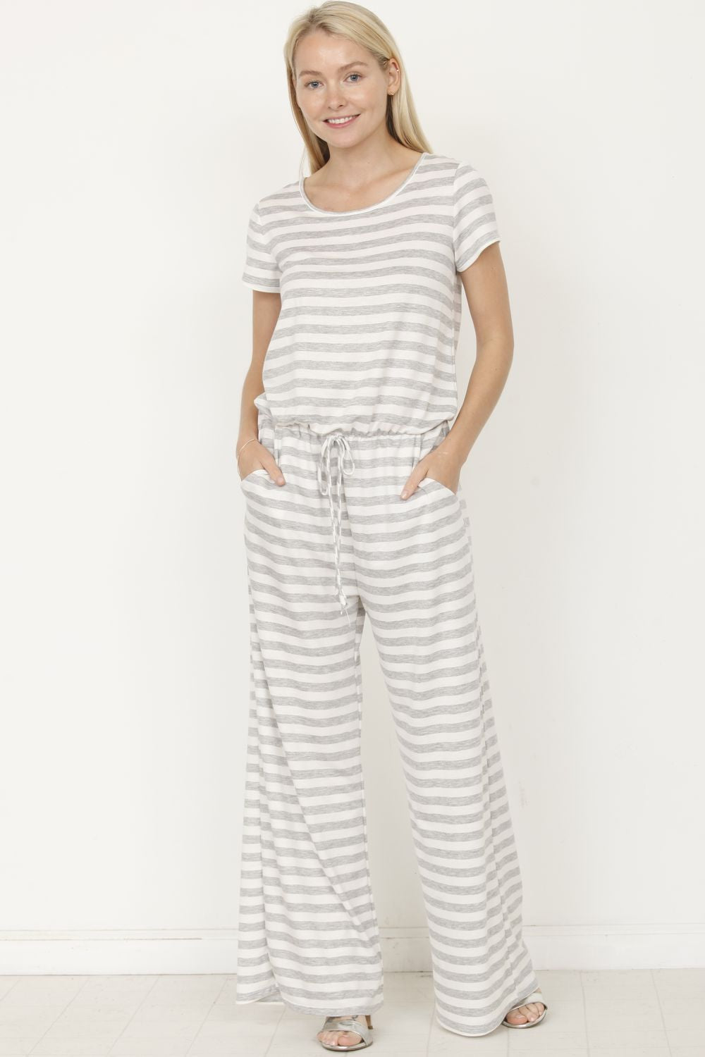 Grey Stripe Short Sleeve Jumpsuit