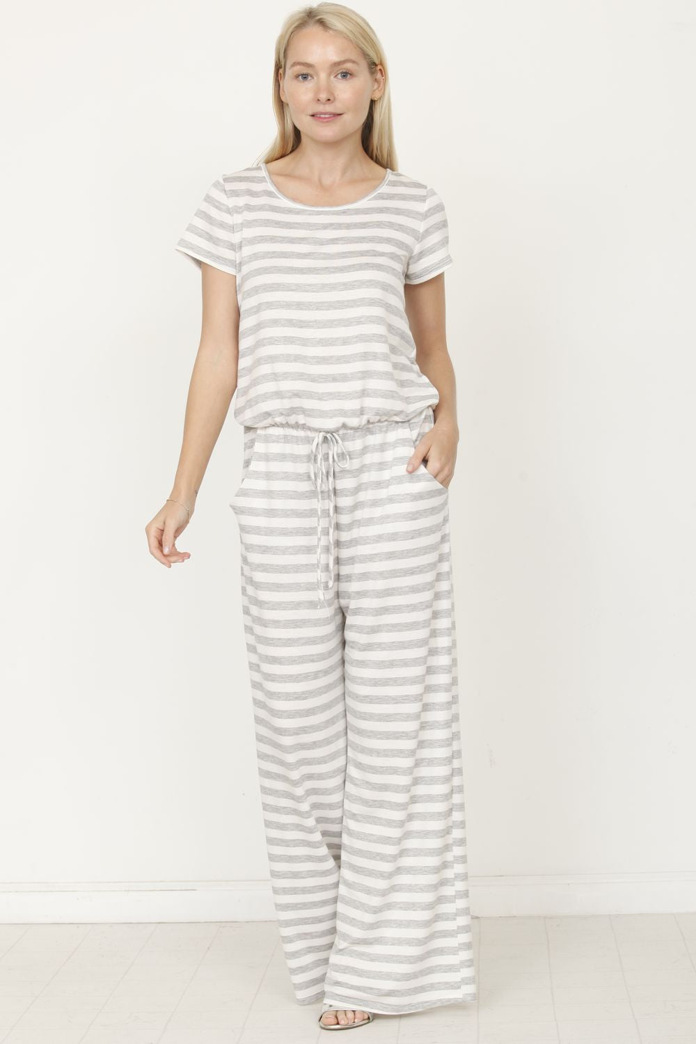 Grey Stripe Short Sleeve Jumpsuit_Plus