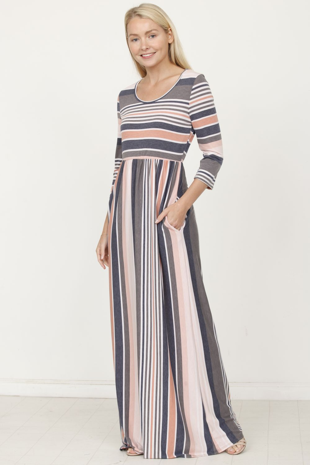 3/4 Sleeve Vintage Stripe Maxi Dress