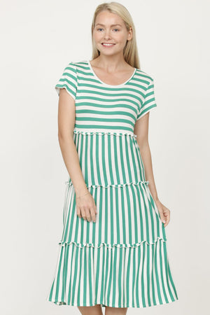 Green Ruffle Tiered Short Sleeve Midi Dress