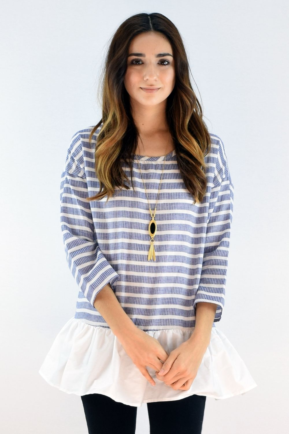 Blue Stripe 3/4 Sleeve Ruffle Bottom Tunic