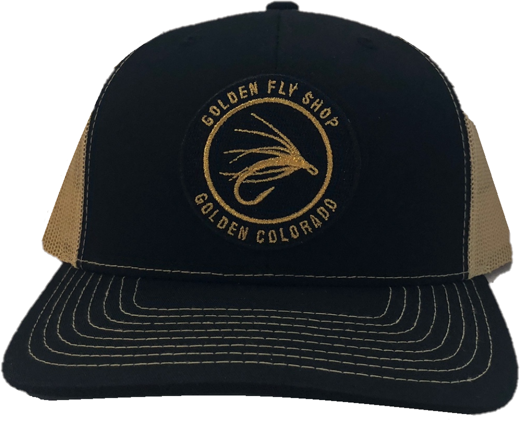 Black hat with gold mesh