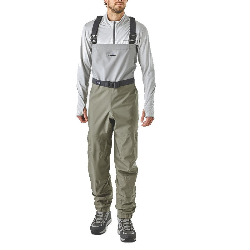 Man wearing full fly fishing waders