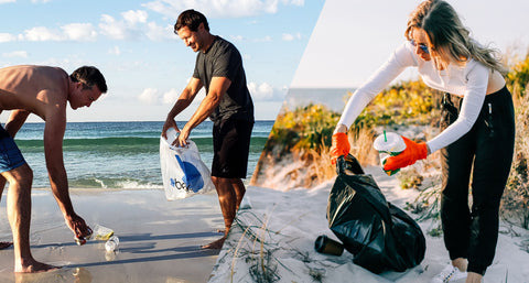 Three people cleaning up debris from the shore with the ocean on the background