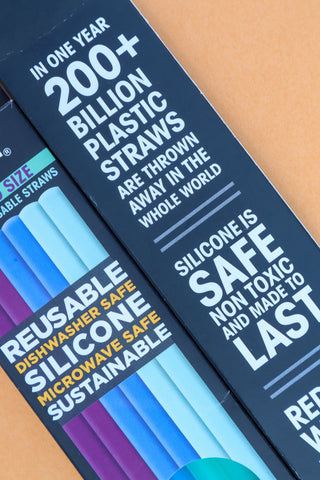 """Reusable silicone straws on their packaging that reads: """"in one year 200+ billion plastic straws are thrown away in the whole world. Silicone is safe, non-toxic, and made to last""""."""