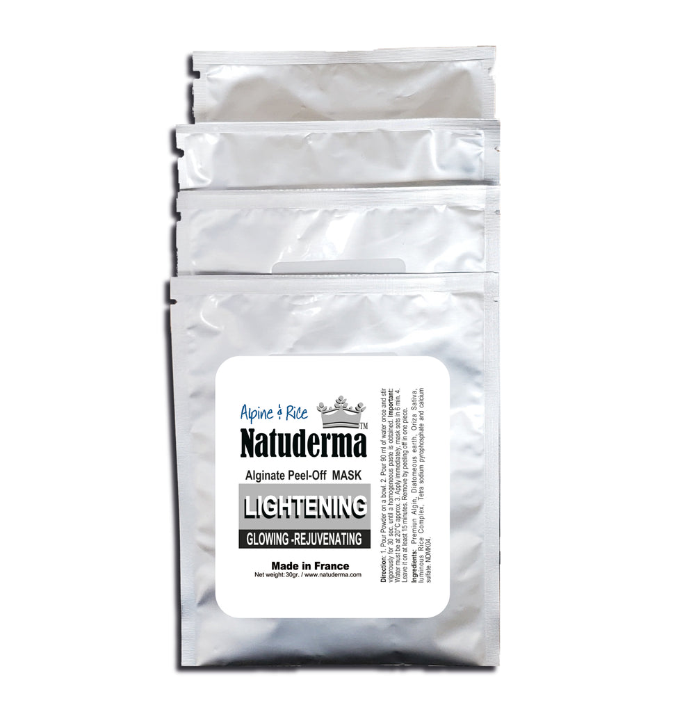 "Natuderma, ""LUMINOUS-GLOWING-RICE"" French Alginate Peel-Off Mask. White color (Qty 4)"