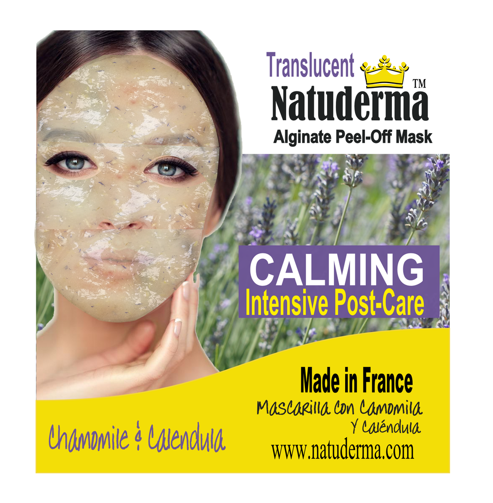 "Natuderma, ""PETAL FLOWER CALMING POST-FACIAL"". French Translucent Premium Peel-Off MASK  (4) with flowers petals."