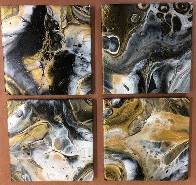 Hand Painted Ceramic Tile Coasters - Black & Gold