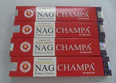 Golden Nag Champ Incense - 4 Packs, 15 Gram per Pack