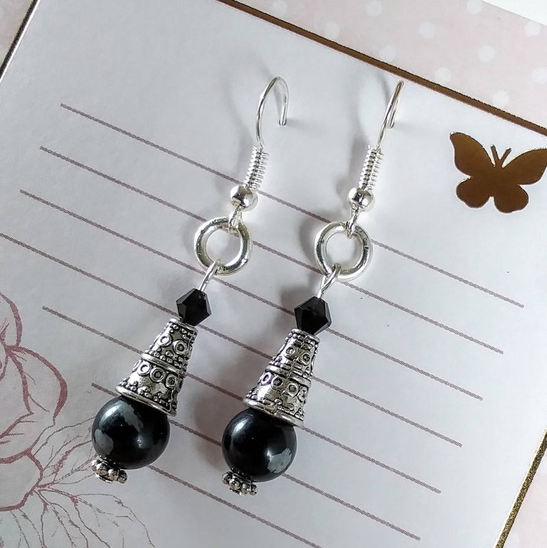 Snowflake Obsidian Dangle Earrings