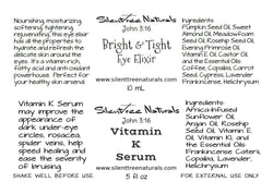 Vitamin K Serum, Bright & Tight Eye Elixir Set-Dark Circle Reducer, Moisturize, Refresh, Natural Skincare, Free Shipping