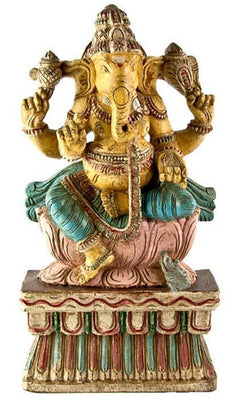 "GANESH-04 Lord Ganesh Wooden Statue Antique - 18""H"