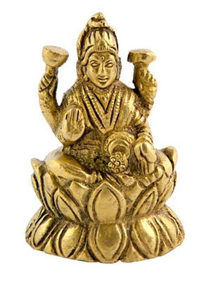 "Goddess Laxmi on Lotus Brass Statue - 2.5""H, 1.5""W"