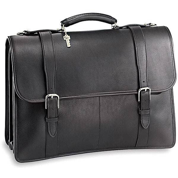Jack Georges University 2499 Leather Flap Over Briefcase